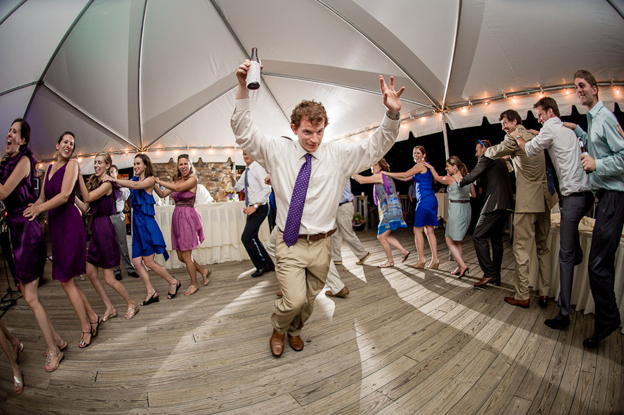 Funny dancing moment of groom