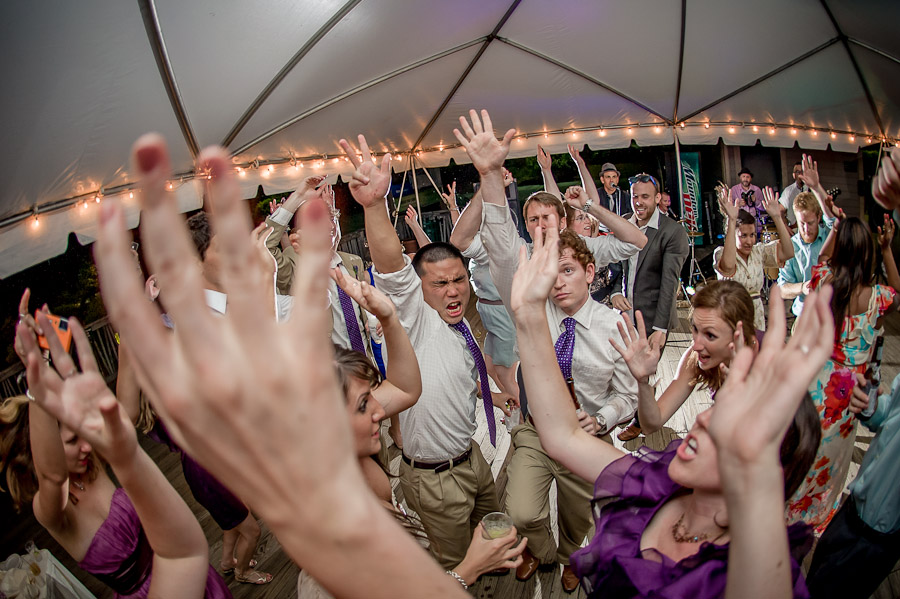 Dancing to shout at wedding