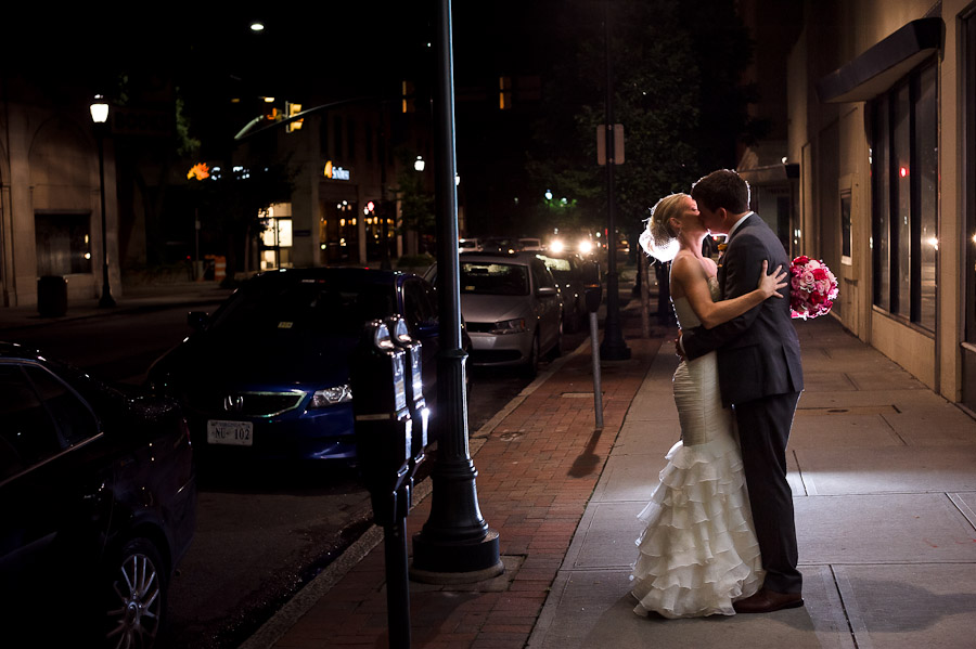 Urban Downtown Richmond Virginia Night Wedding Portrait