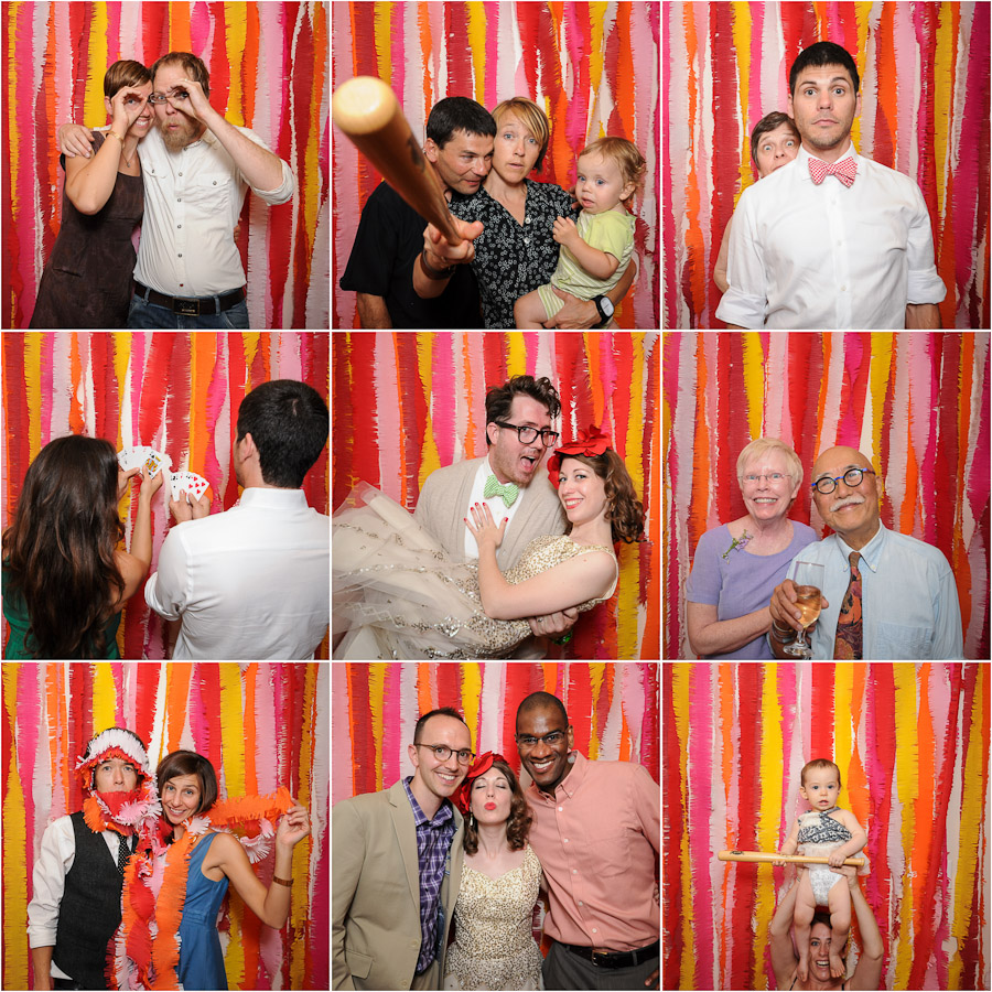 Fun wedding photo booth with paper streamers