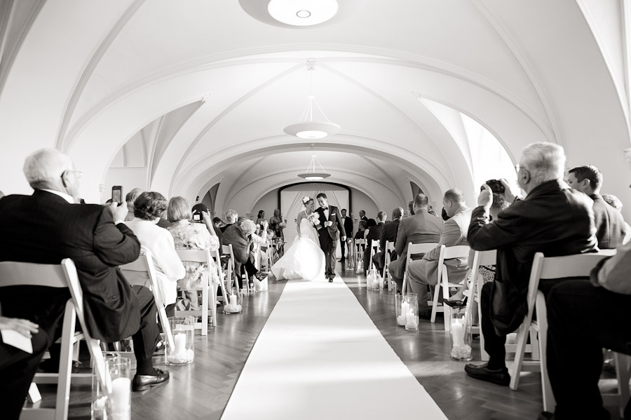 Super happy bride and groom after wedding ceremony