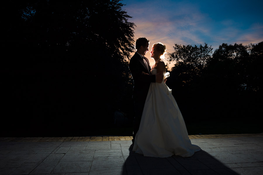 Amazing sunset portrait of bride and groom in Indianapolis