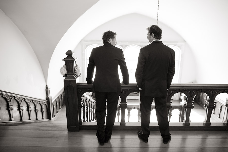 Sweet groomsmen moment at Laurel Hall, Indianapolis, Indiana