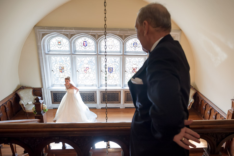 Sweet moment between father and bride before wedding ceremony in Indiana