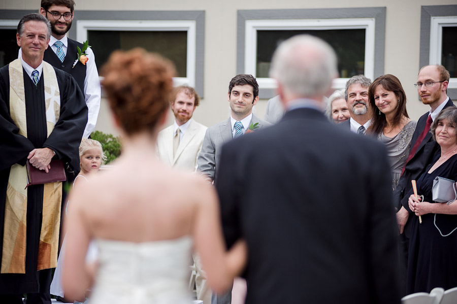 Sweet first look at a wedding ceremony