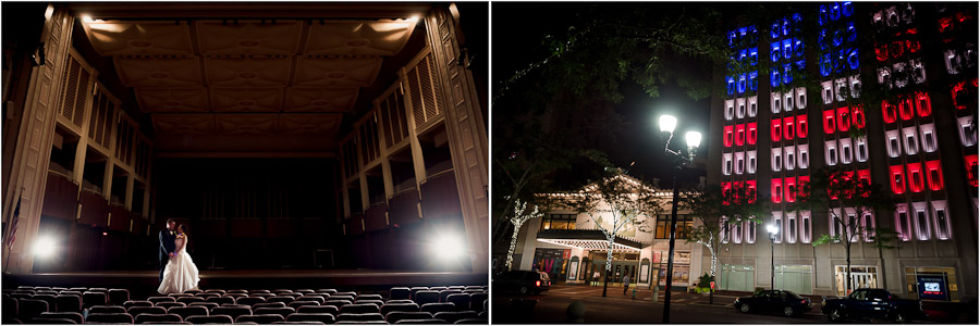 Nighttime wedding photos in Hilbert Circle Theater in downtown Indianapolis