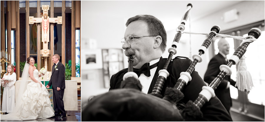 Creative wedding photos of laughter and a bagpiper