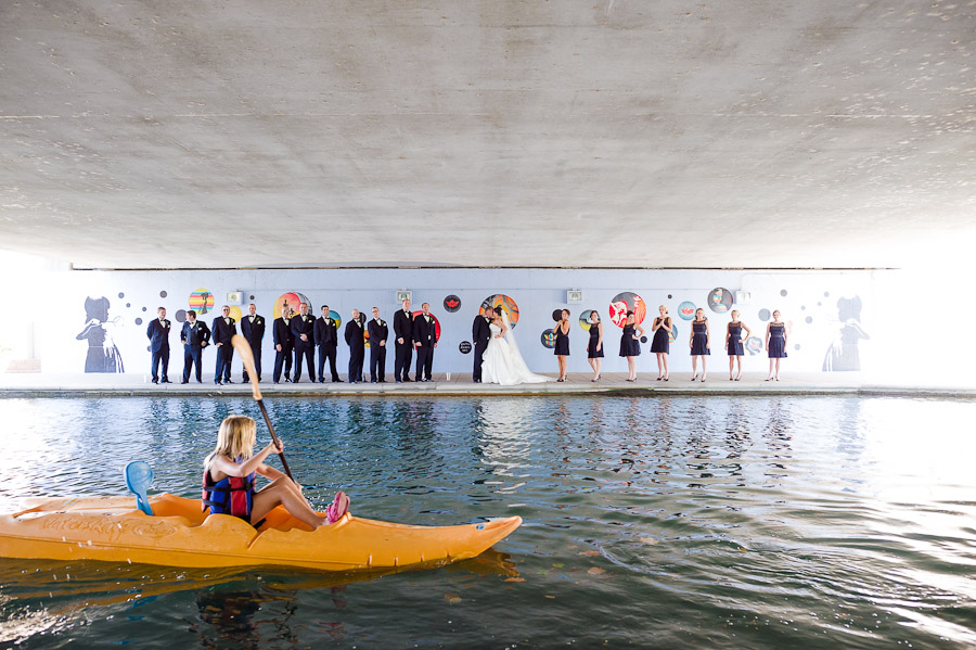 Funny bridal party moment with kayaker on the canal in Indianapolis