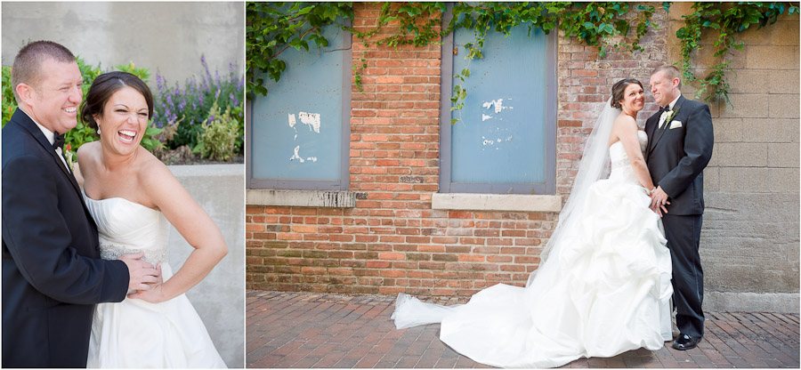 Romantic bride and groom photography on Mass. Ave in Indy