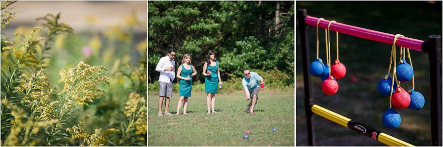 Fun outdoor games, cornhole, bocce ball and croquet at Lake Michigan wedding