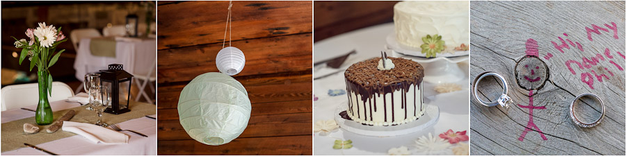 Funny wedding details and delicious cake at The Loading Dock in Shelby, Michigan