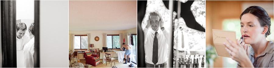 Bride and groom getting ready photos at Lake Michigan lake house