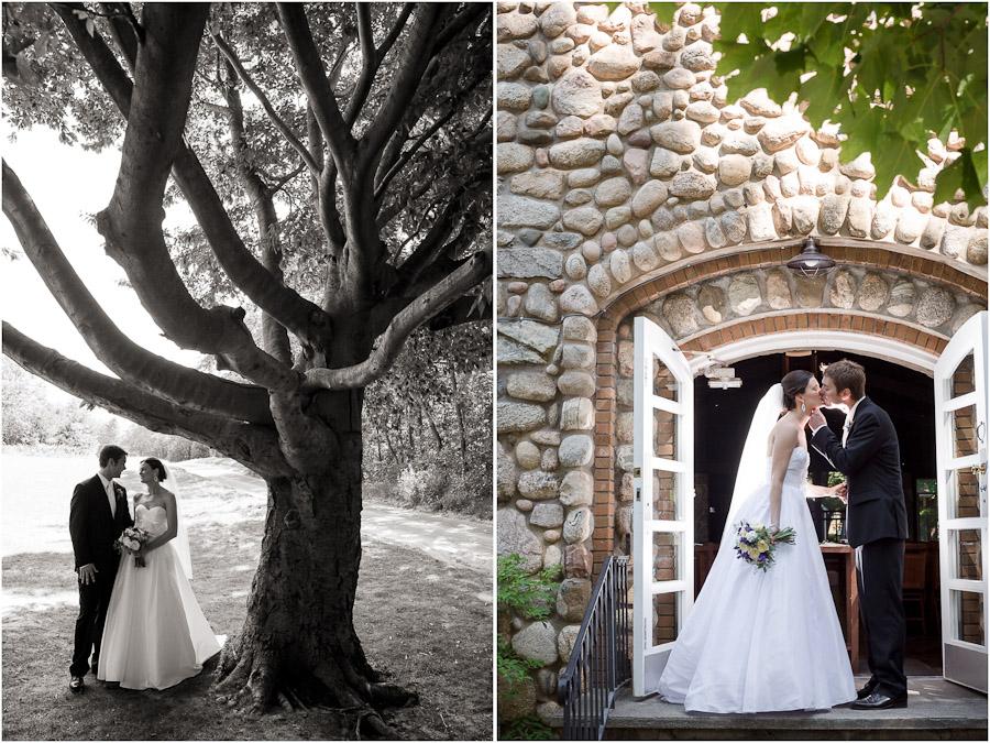 Outdoor bride and groom portraits at Stone Church at Lake Michigan