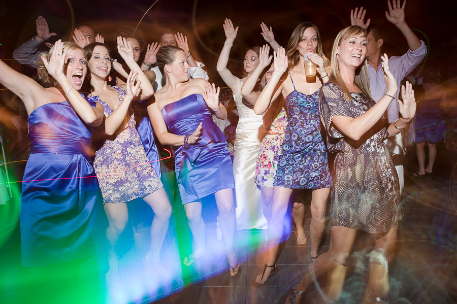 funny wedding party on the dance floor in indiana
