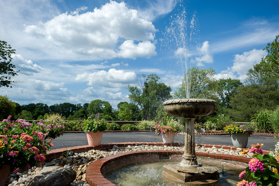 beautiful outdoor fountain at deer park manor in bloomington