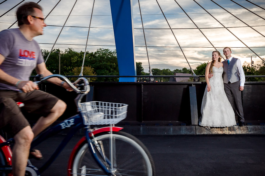 Funny bicycle wedding photo on Bloomington's b-line trail