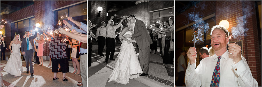 Fun sparkler exit wedding photography
