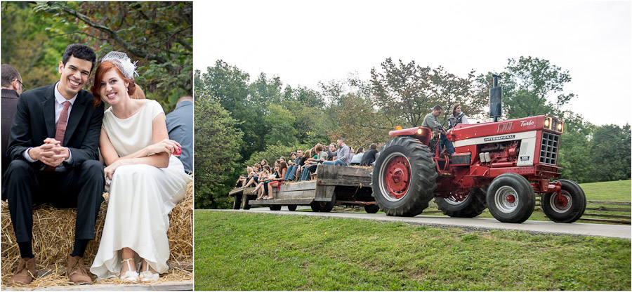 Fun hay ride after wedding in Brown County State Park