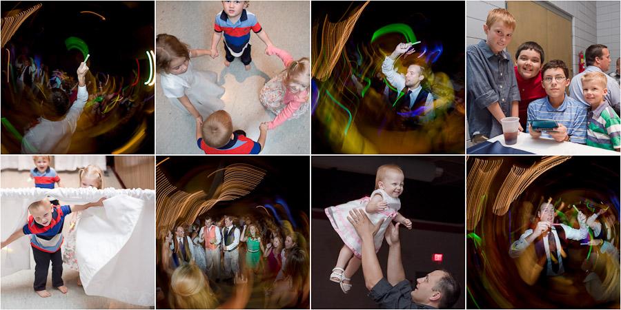 Kids and glow sticks fun wedding reception dance shots
