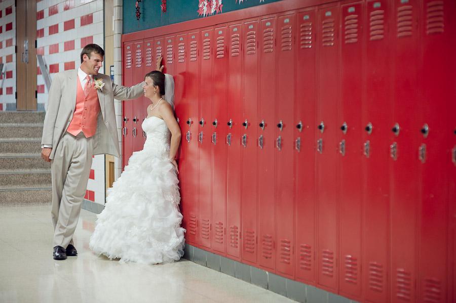 Funny High School Lockers Wedding Photos