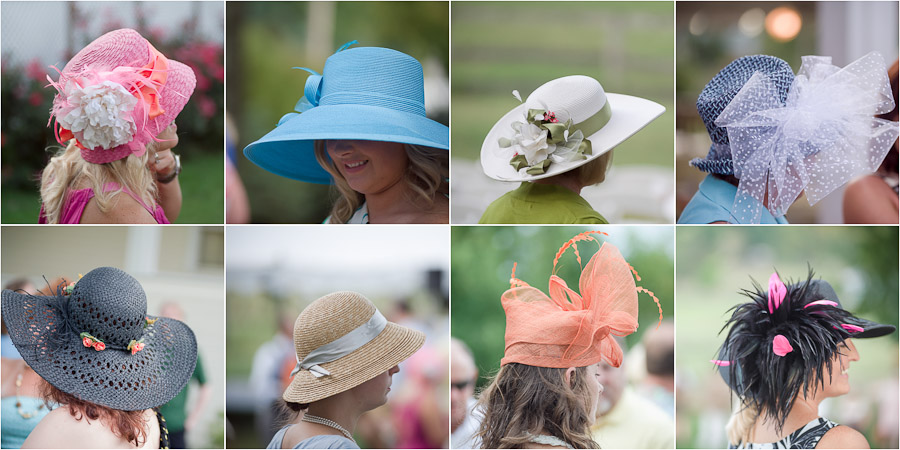 Fancy colorful hat ladies at picnic themed wedding in Louisville