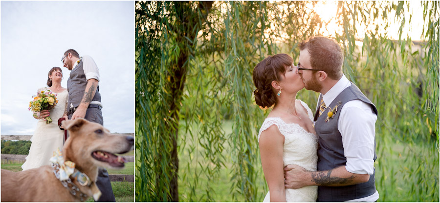 romantic and sweet outdoor wedding portraits of bridal couple and their dog