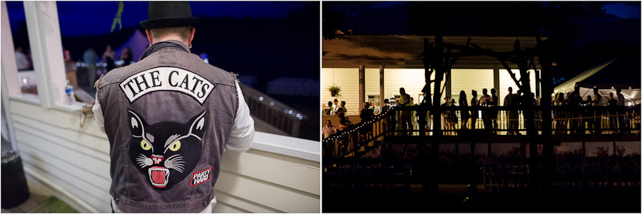 Nighttime funny porch party photos at Louisville gingerwoods wedding