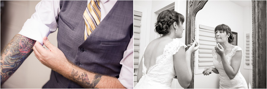 Tattooed groom and bride getting ready pre ceremony at Gingerwoods in Louisville