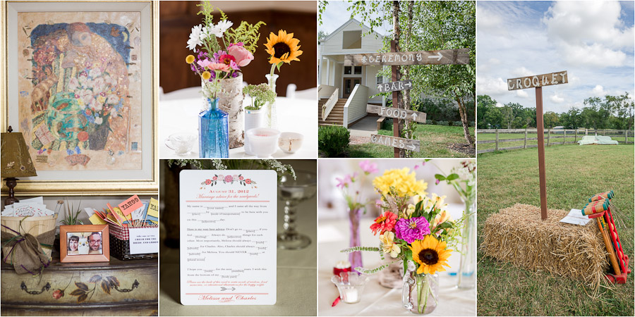 Colorful and quirky wedding details at Gingerwoods wedding ceremony and reception