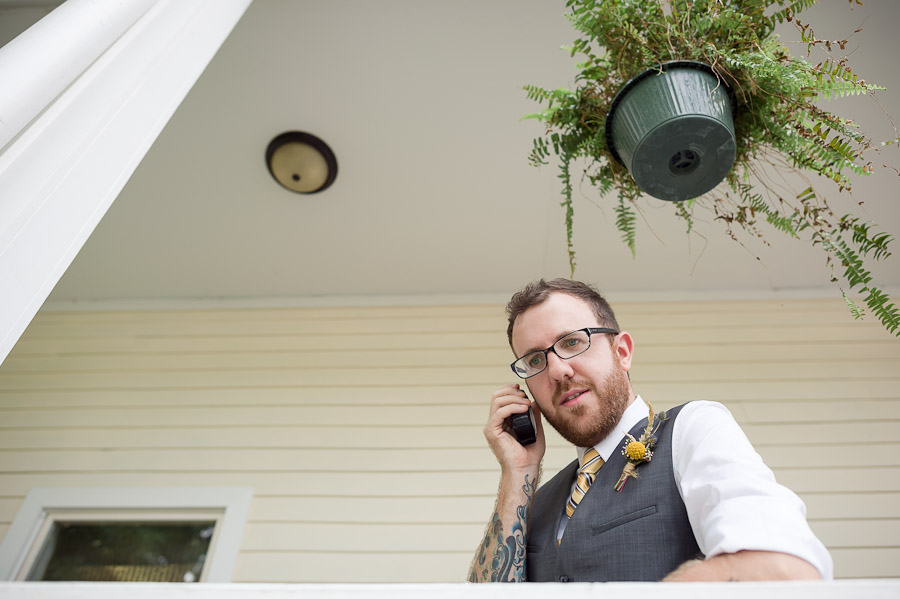 Hilarious photo of groom on walkie-talkie at wedding ceremony in Louisville