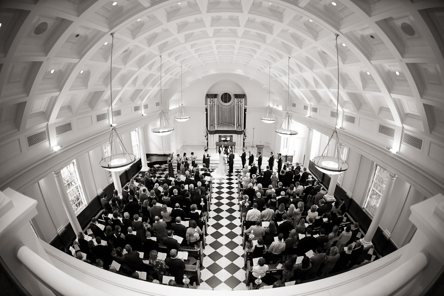 Beautiful and dramatic wedding ceremony photo in Dobbs Chapel in Atlanta