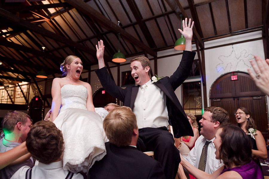 Quirky and fun moment captured of bride and groom on dance floor