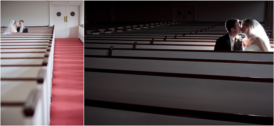 Romantic and sweet first look wedding photos in empty church pews