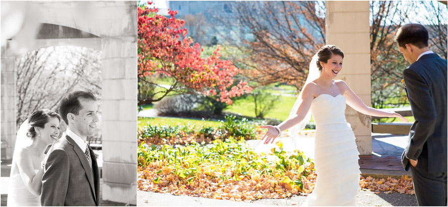 Romantic, colorful wedding photo first look on Indiana University campus