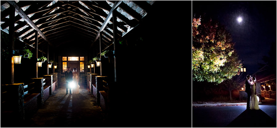 romantic and glamorous nighttime wedding portraits at The Fields in Bloomington, Indiana