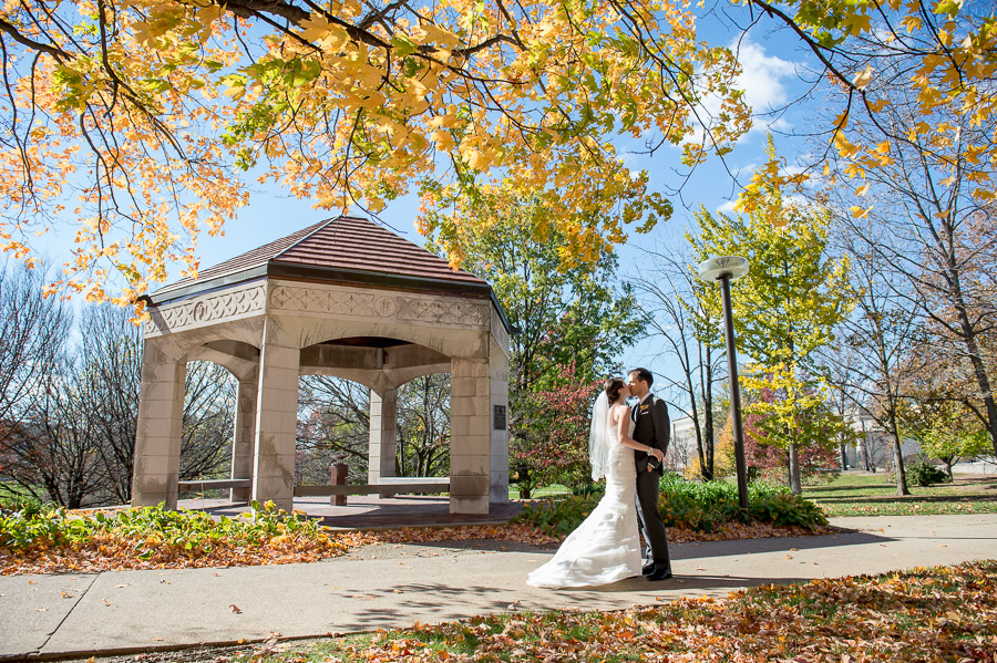 beautiful fall wedding photo on IU Bloomington campus