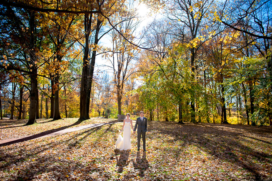 breathtaking, colorful, vibrant pic of wedding couple in a fall forest