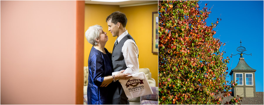 touching and emotional rre-wedding photo of groom and mom at The Fields in Bloomington