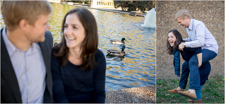cute and quirky lifestyle, engagement photos with ducks in DC