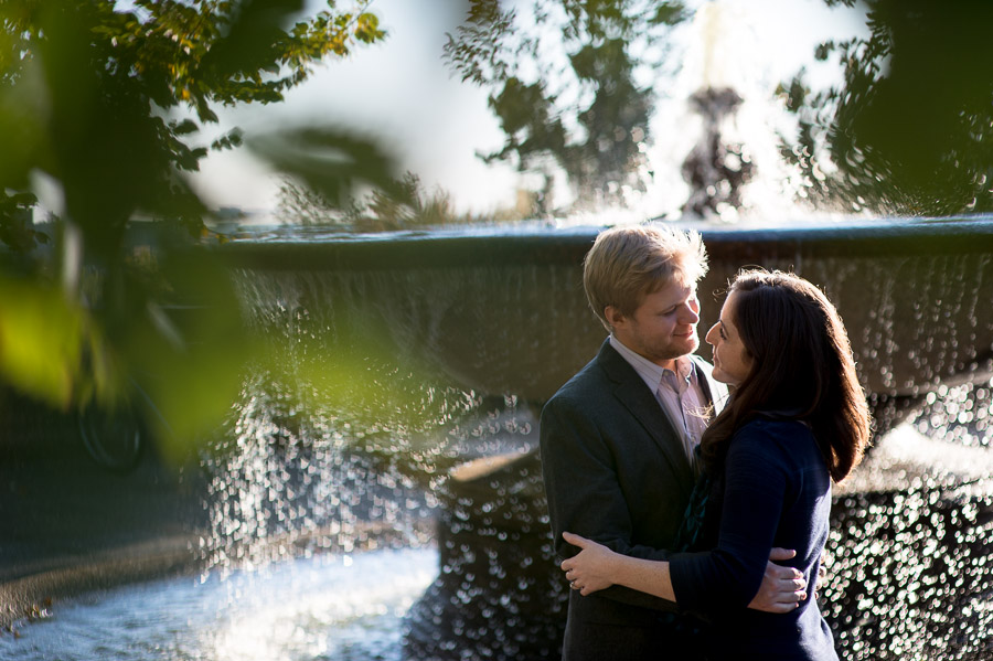 romantic Fall engagement photo in park in Washington, DC