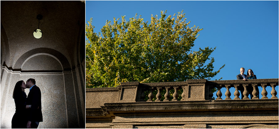 Romantic, dramatic and fun sunny engagement photos in Meridian Hill Park
