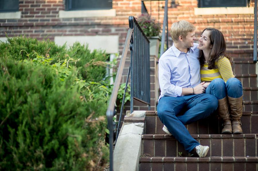 Sweet engagement photography on neighborhood stoop in DC