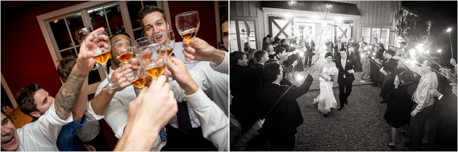 Funny whiskey shot photos and sparkler exit at Charlottesville VA wedding