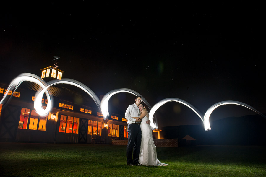 romantic and dramatic light painting photo at Charlottesville Virginia wedding
