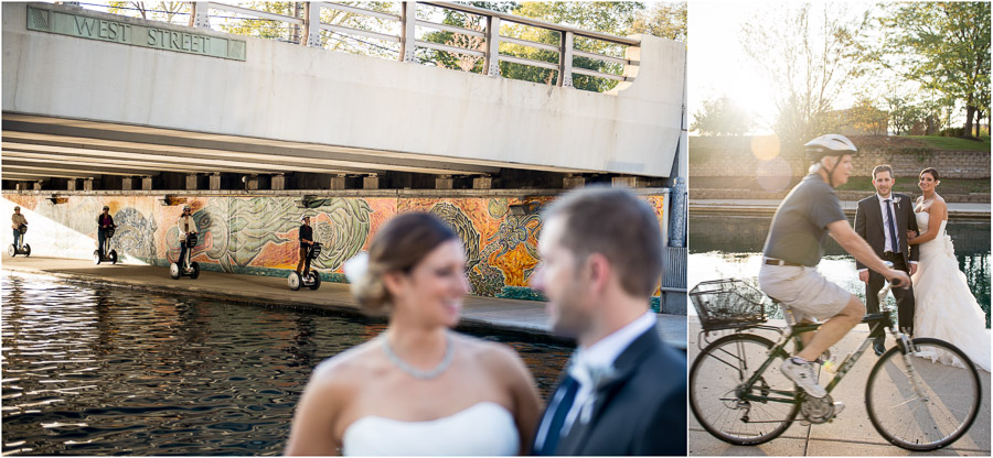 Hilarious wedding photos with segway and biker passerbys.