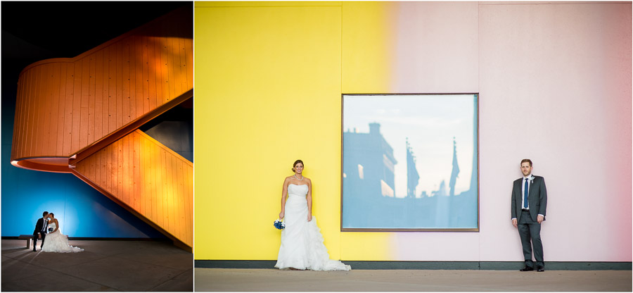 Super colorful and fun urban wedding portraits in downtown Indianapolis