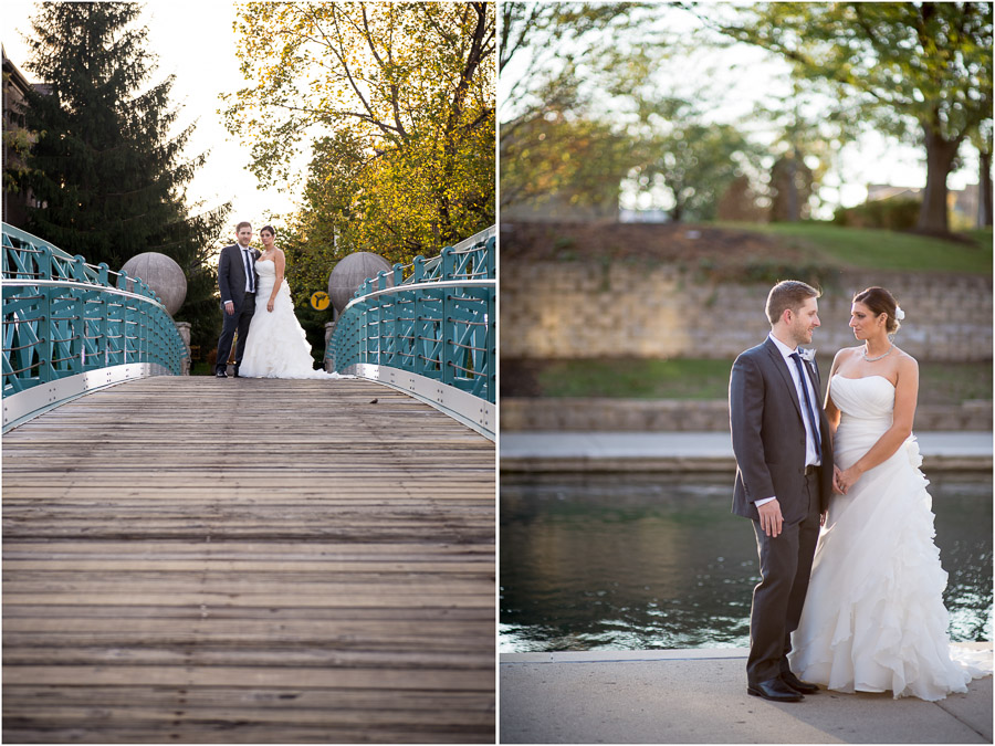Romantic and sweet vibrant wedding pics on downtown Indy Canal Walk