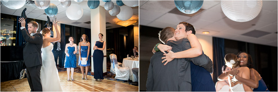 Shoe game and big hugs on the dance floor at elegant and fun Indiana wedding