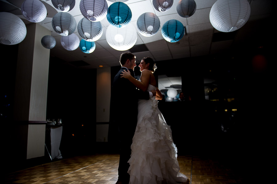 Gorgeous and fun first dance photo under DIY hanging lanterns