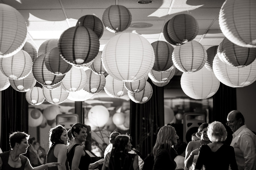 Artsy dance floor photo with DIY hanging circle paper lanterns
